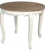 Mesa comedor redonda extensible blanca tapa roble