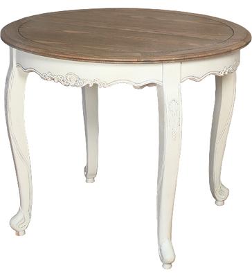 Mesa redonda extensible blanca