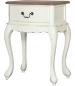 Mesa de noche un cajón blanca tapa roble