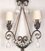 Aplique dos luces bronce/forja almendros transparentes