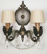 Aplique dos luces bronce/oxido almendros transparentes
