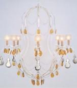 Lampara ocho luces decape almendros plata/ambar