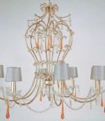 Lampara ocho luces plata con almendros transparentes