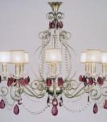 Lampara ocho luces plata almendros corinto