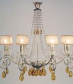 Lampara ocho luces plata almendros ambar
