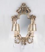 Aplique espejo pequeño plata almendros transparentes