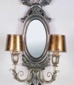 Aplique espejo dos luces plata