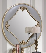 Espejo redondo blanco filo oro
