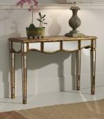Consola de espejo con madera en oro viejo