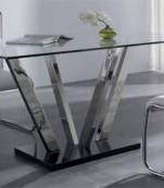 Mesa rectangular cristal con base acero