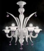 Lampara techo cinco luces cristal de murano